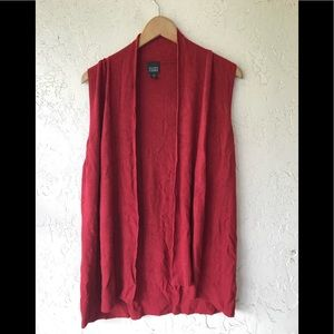 Eileen Fisher red long vest M